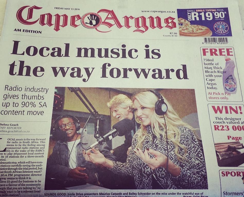Cape Argus Front Page